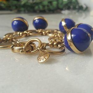 J Crew Blue & Gold Bauble Bracelet